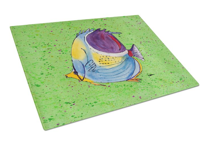 Tropical Fish on Green Glass Cutting Board Large
