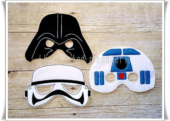 A set of 3 Star Wars character masks--your child doesnt have to choose 1 character to act out--he or she can any of them and #feel the force. Set includes a Stormtrooper mask, an R2D2 mask, and a Darth Vader mask. These masks are perfect as birthday party favors, photo props, accessories for photobooths, etc. Each mask is machine embroidered using 2 pieces of soft felt and thread with stabilizer in between. An elastic band will be sewn on each side of the mask. I prefer not to use the…