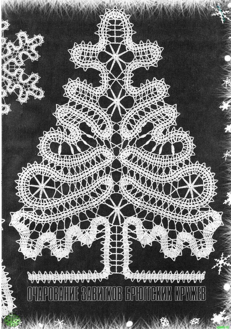 Flocos de neve e árvores de Natal de crochê