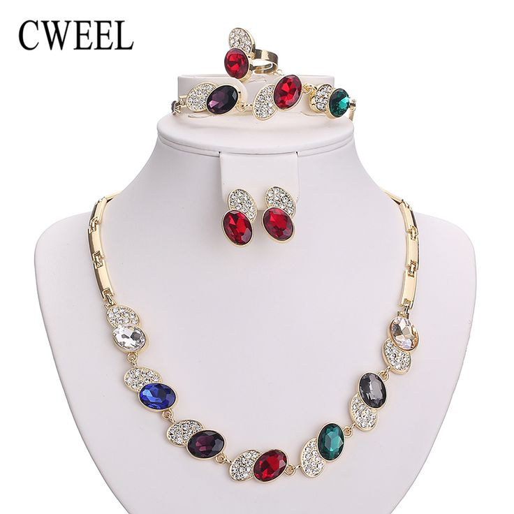 Necklace Set For Women African Beads Imitated Crystal Jewelry Sets Gold Plated Pendant Earrings Bracelets Wedding Accessories