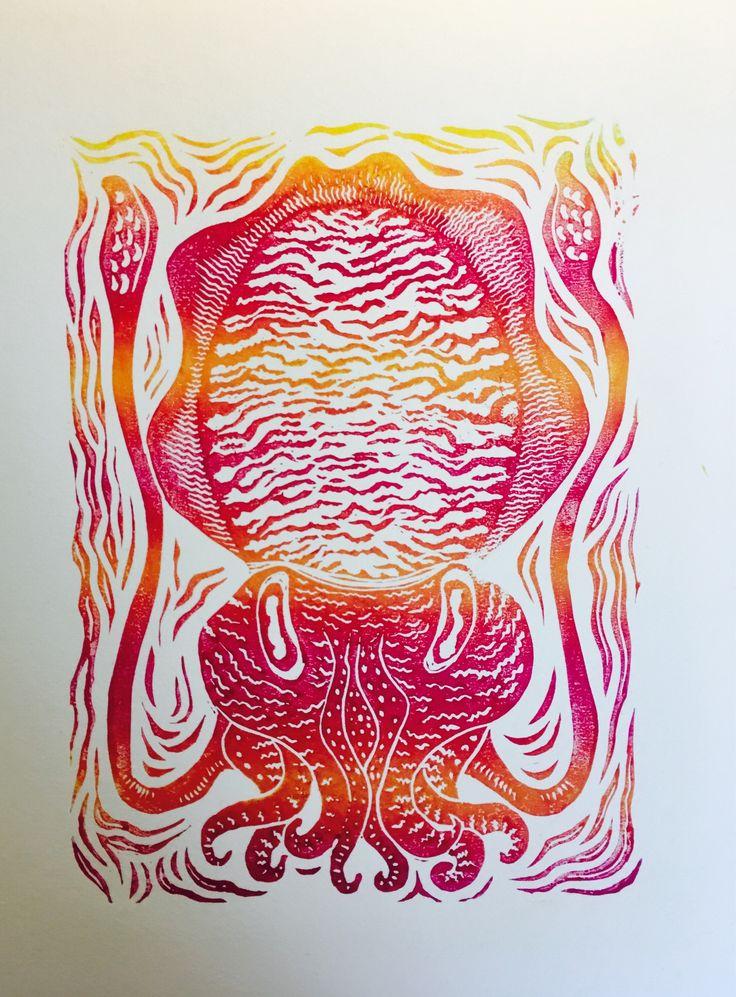 Cuttlefish - horizontal sunburst fade. by HuPaLinocuts on Etsy https://www.etsy.com/uk/listing/544255308/cuttlefish-horizontal-sunburst-fade