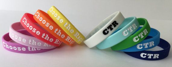 Bring home the 2017 Primary theme Choose the Right with these Primary Wristbands. Great for...   Introducing the Primary theme  Sharing time  Birthday gifts  Spotlight gifts  Christmas gifts  Primary program  Junior Primary size wristbands are 6 1/4 inches (160 mm) in circumference. This listing is for TWENTY (20) wristbands. Request specific colors in the dropdown box. Colors: orange, yellow, green, light blue, medium blue, dark blue, pink, light purple, purple, & glow.  Please contact me…