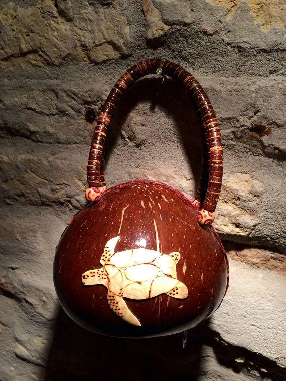 Bohemian handmade hippie vintage coconut by nicevintageshop