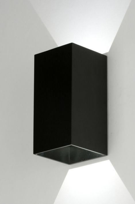 Wandlamp 71978 modern design aluminium zwart mat rechthoekig