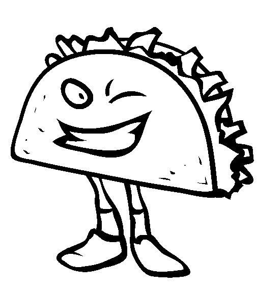 Taco Junk Food Coloring Page Download Sketch Coloring Page