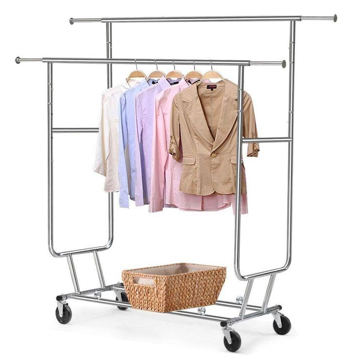 Gotobuy Commercial Clothing Garment Rolling Collapsible Rack Hanger Holder (Double Rail)