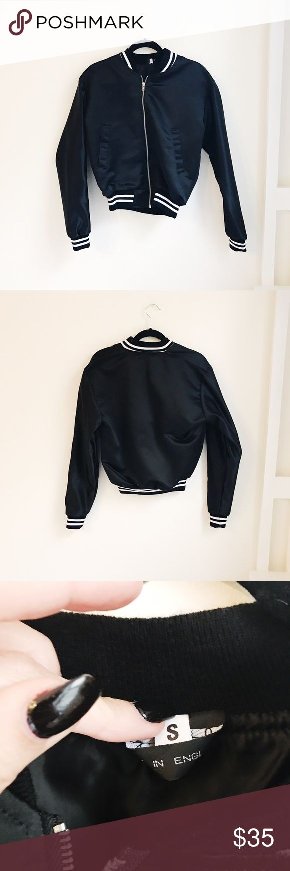 Urban Outfitters Bomber Jacket •never worn • black & white stripe detailing • satin material Urban Outfitters Jackets & Coats