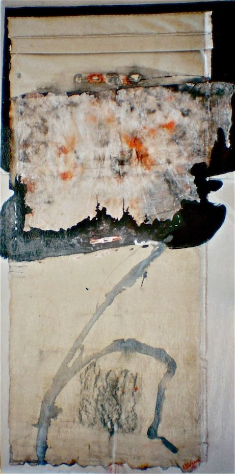 ELAINE d'ESTERRE - Fold , 2003, raw canvas, stained and frottaged rice paper, graphite and ink 150x78 cm from An Archaeology of Landscape by Elaine d'Esterre at http://elainedesterreart.com and http://www.facebook.com/elainedesterreart/ and http://instagram.com/desterreart/
