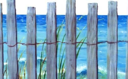 Trompe L Oeil Beach Fence Wallpaper Border Ocean Birds