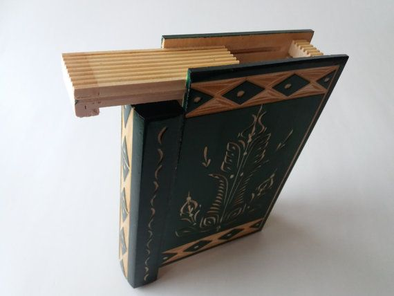 Beatiful green magic misterious wizard puzzle book box with secret compartment inside surprise handmade wooden hidden jewelry storage box