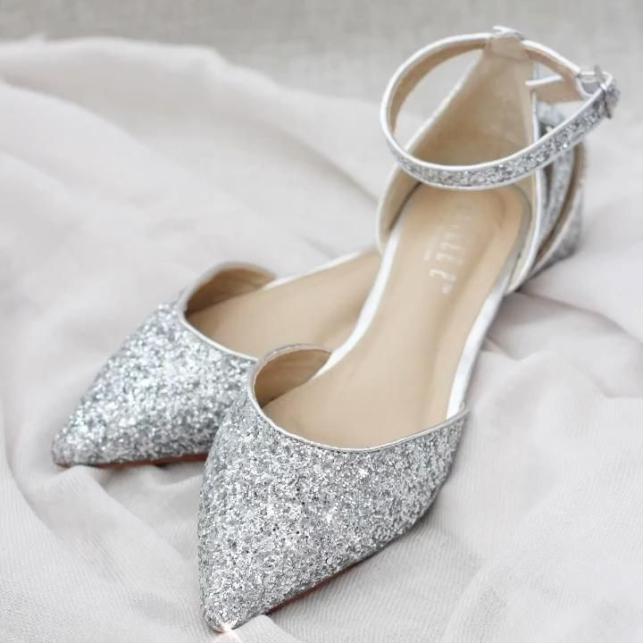 Silver Rock Glitter Ankle Strap Flats In 2021 Bridal Shoes Silver Shoes Fashion Shoes