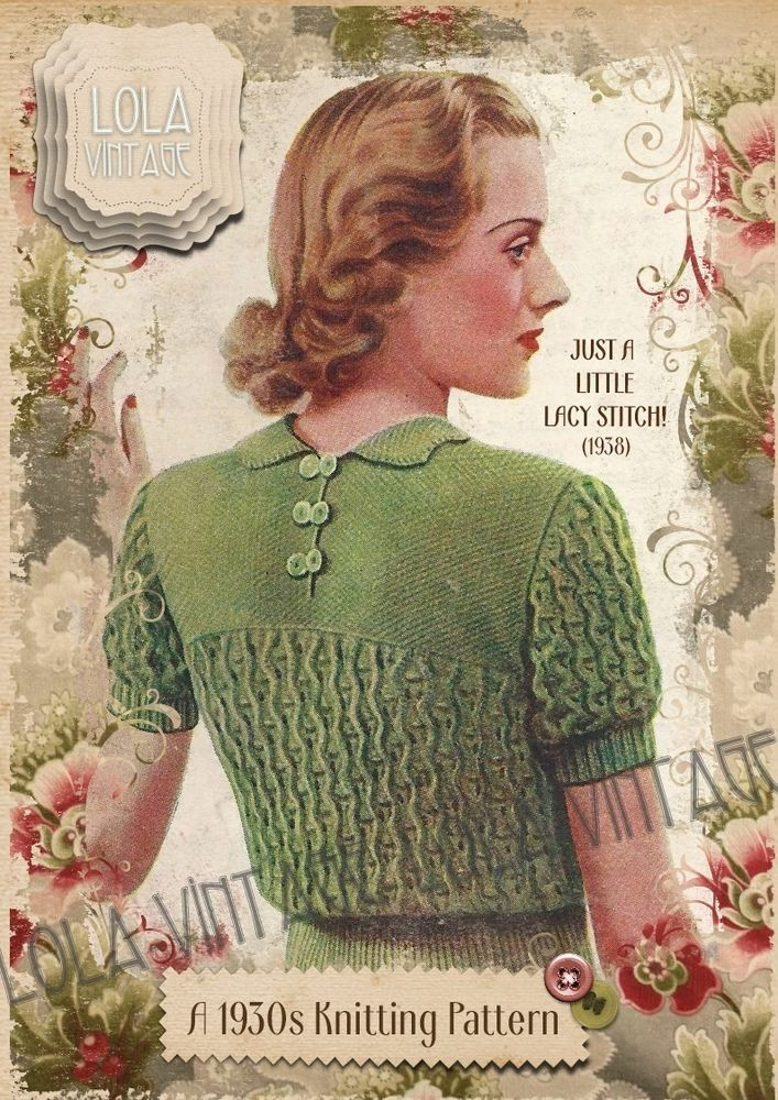 Vintage Knitting Pattern Lady/'s 1930s//40s Jumper Short /& Long Sleeves.