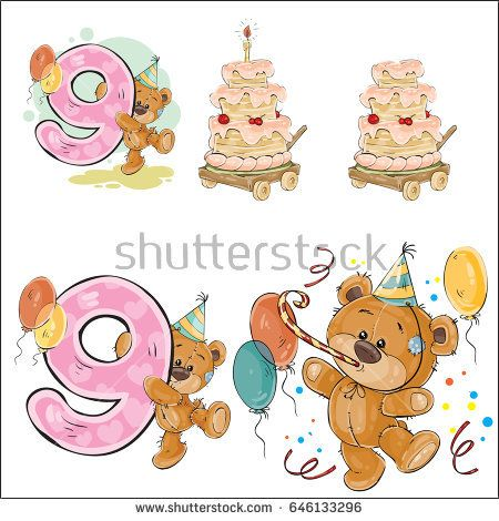 Set of vector illustrations with brown teddy bear, birthday cake - birthday cake card template
