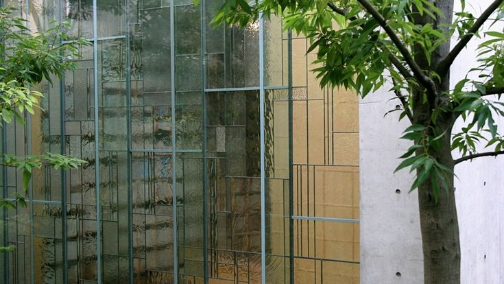 art glass paneled windows . Shiba Ryotaro Memorial Museum