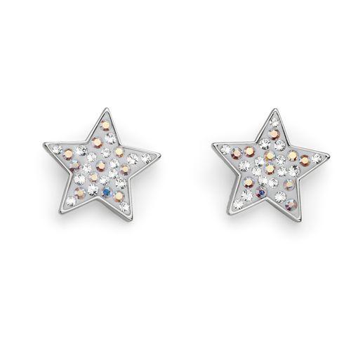 White Lucky Star Swarovski Crystal Earrings Oliver Weber