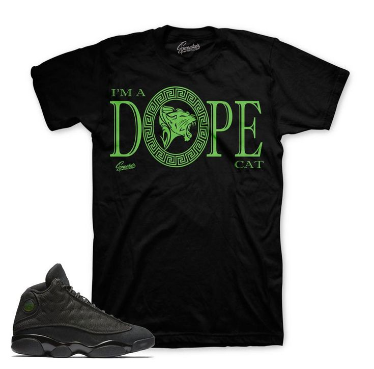Jordan 13 Black Cat Shirt - Dope Cat - Black