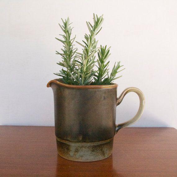 Vintage Porsgrund Norway LAVA Pitcher, P555, green/brown glaze, 1970s