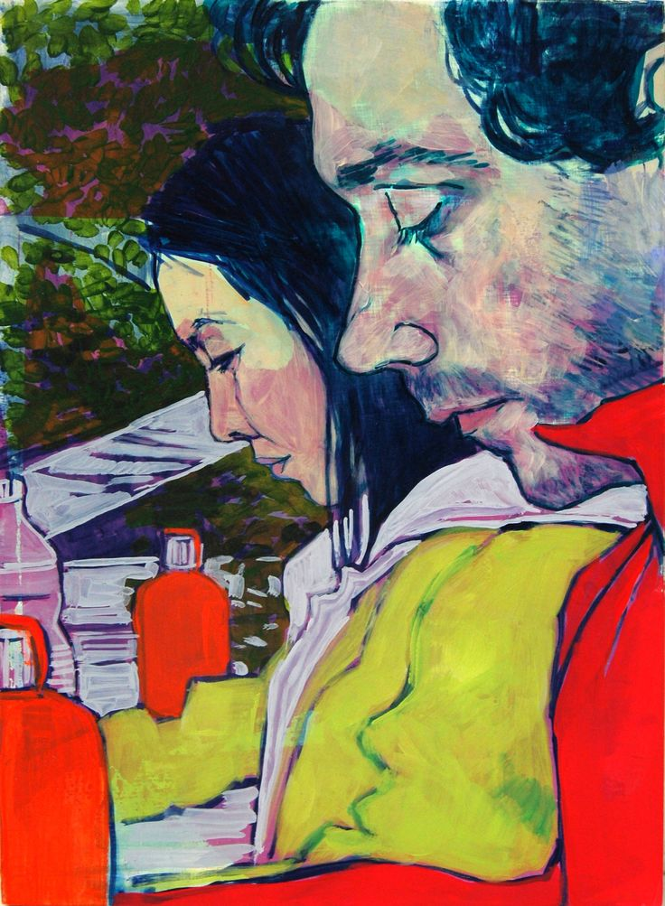 Hope Gangloff - Ballpoint Pen Art - Figurative Painting - Paddle8: Lena and Yuri (Twinsies)