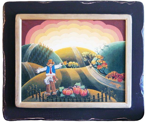 Autumn Twilight (2013) Acrylic and embroidery on canvas 28 x 33 x 2.5