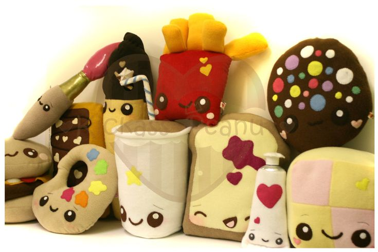 Plushie Parade by kickass-peanut.deviantart.com on @deviantARTFelt Plush Food Kawaii, Plushies Parade, Plush Keychains, Felt Kawaii, Kawaii Stuffed Kawaii, Plush Ideas, Kawaii Plush, Fast Foods, Peluche Kawaii Stuffed