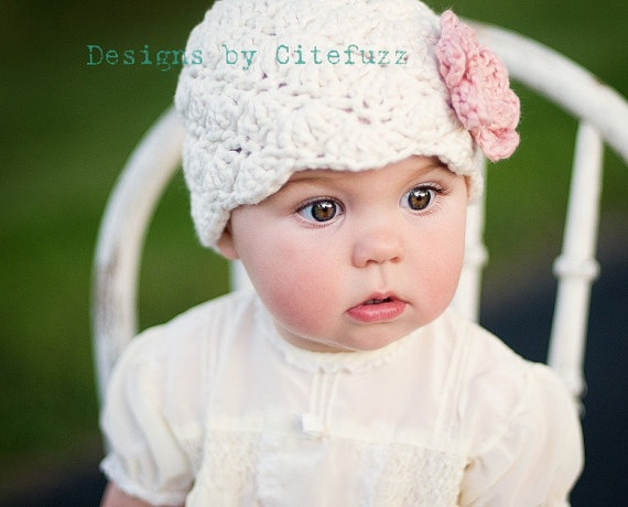 Knit Baby Hat Organic Cotton 1-2 Years modern Flapper Cream with Cherry Blossom Flower Stunning girl Prop for photographs citefuzz