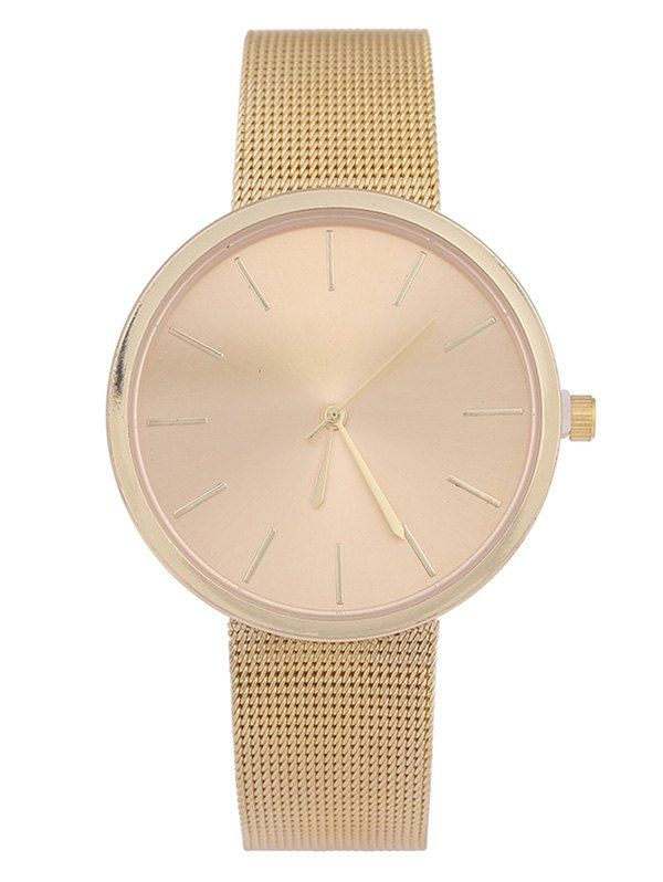 Simple Steel Mesh Band Quartz Watch - GOLDEN