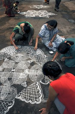 Kolam or rangoli drawings made with rice flower or coloured sand. Contest during a festival in Mylapore, India