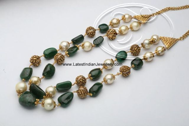 Gold Beads Neck piece with Nakshi Balls Emeralds and Pearls - Latest Indian Jewellery Designs