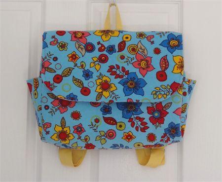 Blue Flower Garden Corduroy Satchel Style Backpack