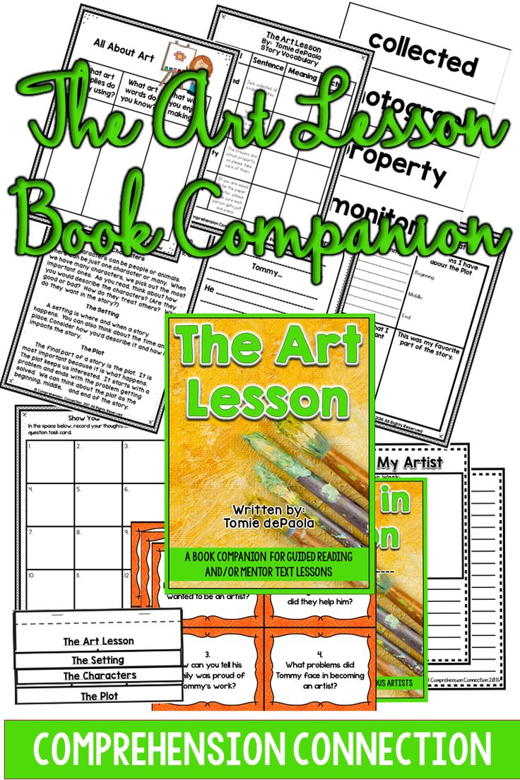 This guided reading unit includes before-during-after activities for The Art Lesson, and it includes a class book for researching famous artists.  The skills addressed through this unit include: building schema about art preteaching story vocabulary story elements (characters, setting, and plot as well as an anchor chart) four square thinking summarizing information writing about reading question task cards and response form class book for researching famous artists  19 pages