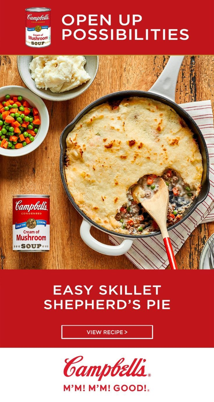Incredibly Easy To Make Yet So Delicious This Family Favorite Shepherd S Pie Recipe Comes Together In Only 3 Recipes Campbells Soup Recipes Campbells Recipes
