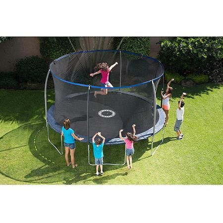 BouncePro 14' Trampoline with Enclosure and Game, Blue (Was $267)