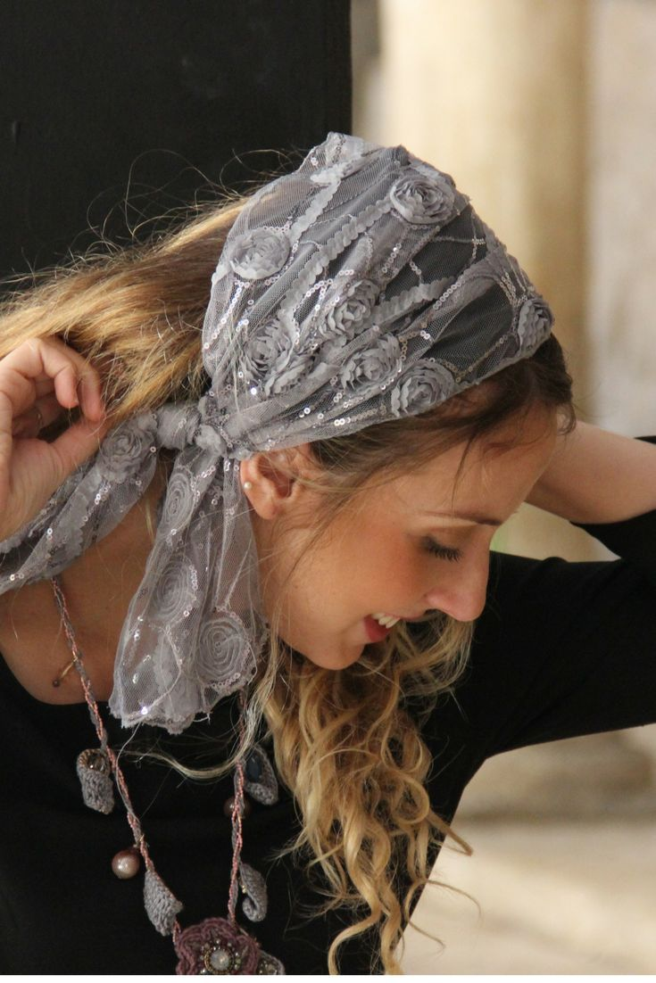 Excited to share the latest addition to my #etsy shop: Event Silver Headband Tichel, Snood, Head Scarf, Head Covering, Jewish Headcovering, Scarf, Ban