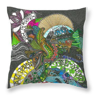 Throw Pillow featuring the drawing Aamar Jonmobhumi by Ajanta Roy Chaudhury