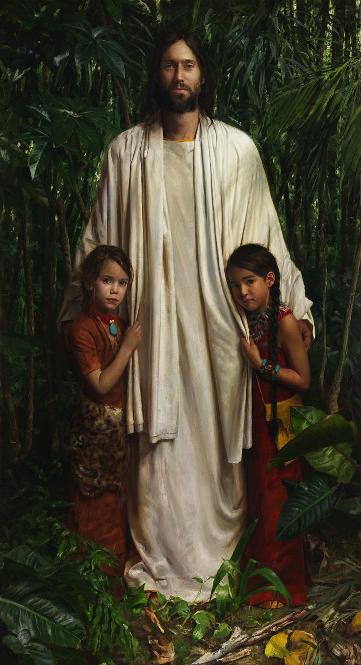 """""""Christ in America"""" A copy of this is in the Tegucigalpa, Honduras LDS Temple. Jeff Hein's Portfolio - Painting- History/Scripture"""