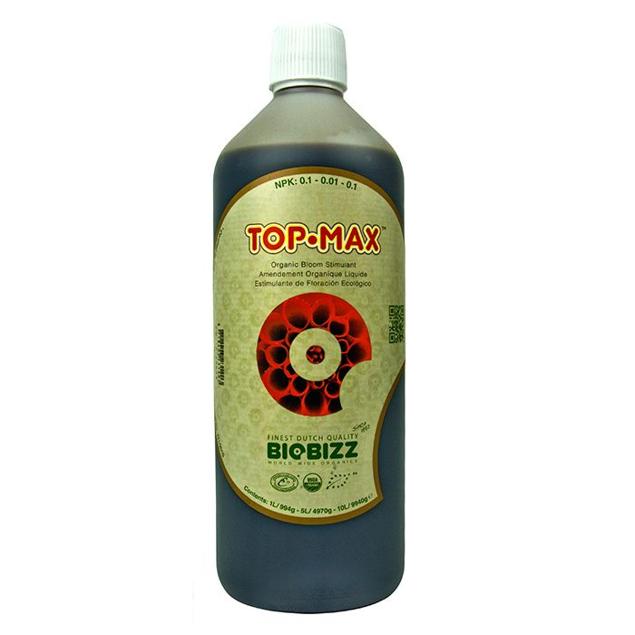 BioBiz Top-Max:  BioBizz Top-Max is an all-organic stimulator designed for use during the flowering and fruiting stage of development. It is tailored for use in soil based systems but can be safely used in coco and hydroponics based systems too.