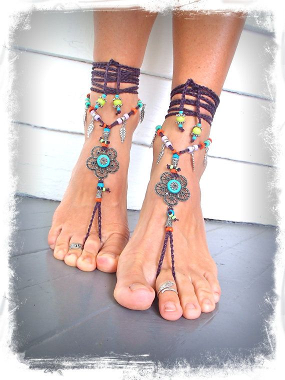 Hippie flor descalzo sandalias pies descalzos gitano sandalia dedo tanga zapatos soleless Crochet pie joyería Toe flor tobillera joyas del a...