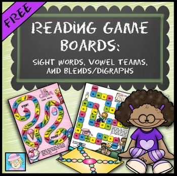 FREE! Reading Board Games (FREE!): Sight Words, Vowel Teams, Blends, and Digraphs. Your students will enjoy practicing some literacy skills with these colorful, engaging games! The set includes 5 games: sight words (Frys first 200 words), vowel teams #1 (long a and long e words), blends, digraphs, and vowel teams #2.