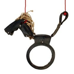 recycled tyre horse swing   fun!