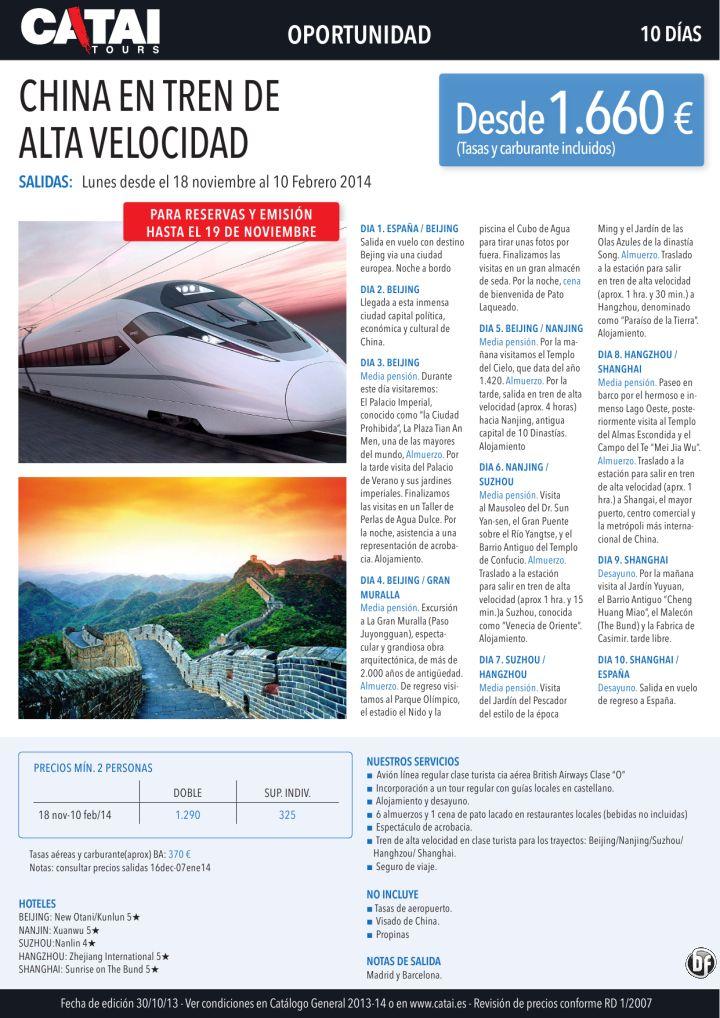 Oportunidad: CHINA en tren de Alta Velocidad, reserv y emisión hst 19nov, 10 días desde 1.660€ - http://zocotours.com/oportunidad-china-en-tren-de-alta-velocidad-reserv-y-emision-hst-19nov-10-dias-desde-1-660e/