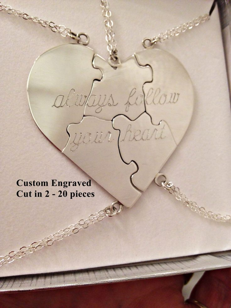 """Sterling Silver Custom Engraved Puzzle Heart Necklace """"A Piece Of My Heart"""" - Bridesmaids - Valentine by CopperfoxGemsJewelry on Etsy https://www.etsy.com/listing/213504845/sterling-silver-custom-engraved-puzzle"""