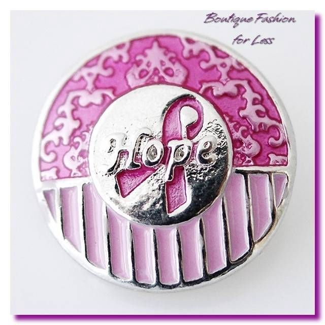 Snaps Snap Chunk Button Charm Jewelry Pink Breast Cancer Awareness #Unbranded #SnapsSnapCharmDesigneredInspired