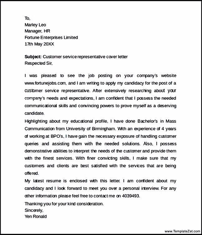customer service representative cover letter templatezet