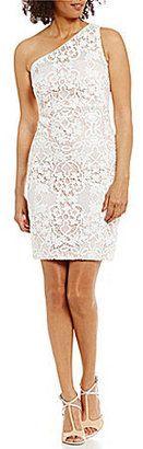 Calvin Klein One-Shoulder Lace Sheath Dress - $188.00