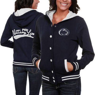Penn State Nittany Lions Ladies Navy Blue Varsity Blues Full Button Hoodie Sweatshirt