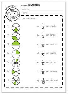 Actividad de Fracciones - Nivel Inicial KS2 / matemáticas Primaria