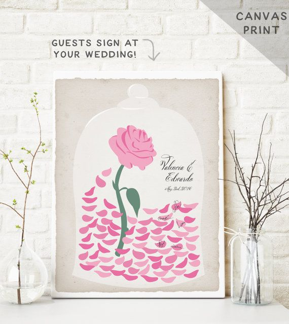 Beauty and The Beast Canvas Guest Book Alternative Enchanted Rose Petals - Fairytale Wedding Guest Book - Be our Guest - Canvas print  OMG!!!!!!!