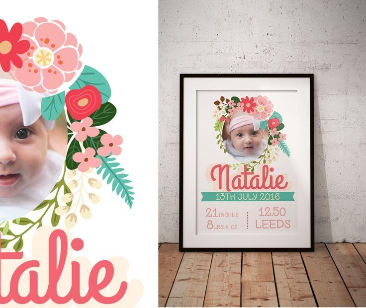 Flower Frame birth certificate Baby Info Board nursery