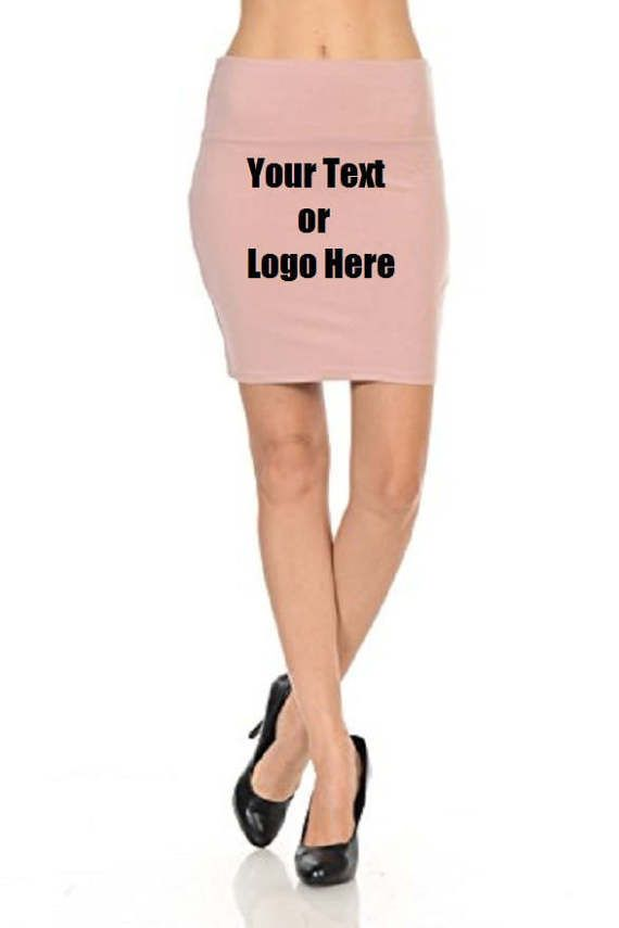 DG Custom Graphics is your premier site for custom designed apparel.    We can design your Women's Solid High Waist Stretch Cotton Span Mini Skirt with your custom artwork, text or logo. Forward your artwork with one color. If additional colors are needed we can provide a custom quote.    Design can be put on front or back.    Forward us the following info.    1.Pick One Color (Choices: Blue, Black, White, Red) Additional colors available upon request and with a surcharge.  2.Upload Artwork to us. Include your invoice #.  3. Specify where you want the artwork to be placed. (front, back)      • 60% Cotton, 35% Polyester, 5% Spandex   • FLATTERING - Simple and basic design pairs well with variety of tops   • COMFORT - Soft and stretchy fabric allows for a comfortable fit   • EASY FIT - Fitted pull on closure, elastic waist band   • Appropriate for casual attire, dating, dressy and business casual, daily look, city casual, semi formal, business casual      We do not reproduce anything with a copyright due to copyright laws and regulations.    ***No Returns on any custom garmets.*** | Shop this product here: http://spreesy.com/dgcustomgraphics/113 | Shop all of our products at http://spreesy.com/dgcustomgraphics    | Pinterest selling powered by Spreesy.com