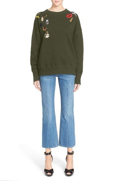 Alexander McQueen Embellished Cotton Sweatshirt available at #Nordstrom